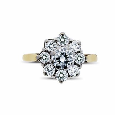 Round Brilliant Cut Diamond Cluster Ring - 0.80ct